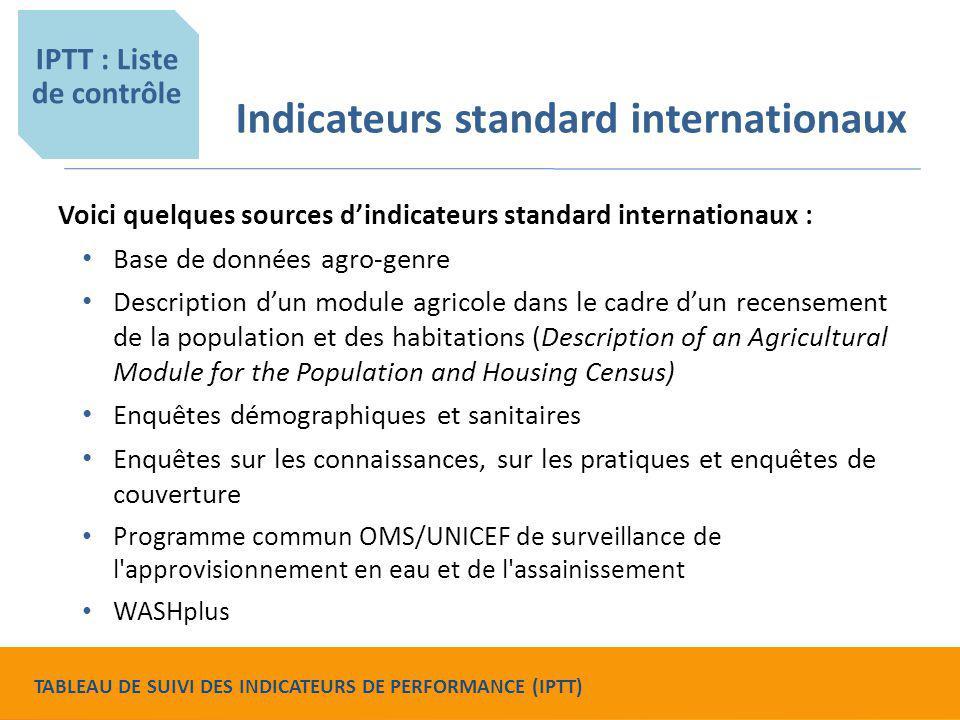 Indicateurs standard internationaux Voici quelques sources d'indicateurs standard internationaux : Base de données agro-genre Description d'un module
