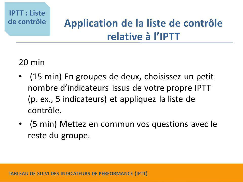 Application de la liste de contrôle relative à l'IPTT 20 min (15 min) En groupes de deux, choisissez un petit nombre d'indicateurs issus de votre prop