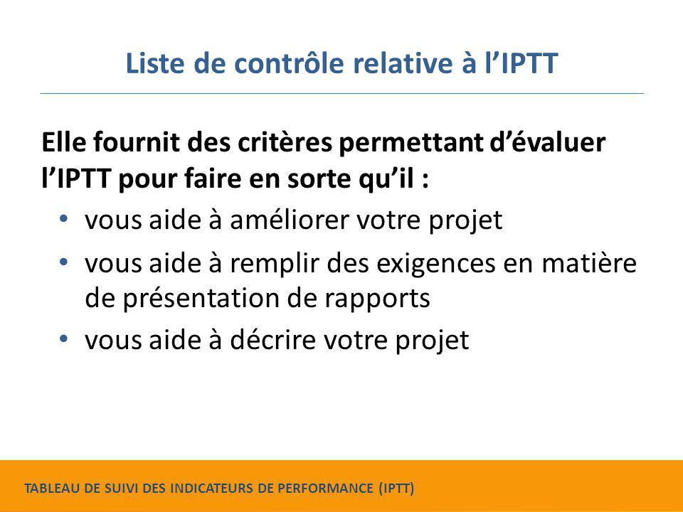 Liste de contrôle relative à l'IPTT Elle fournit des critères permettant d'évaluer l'IPTT pour faire en sorte qu'il : vous aide à améliorer votre proj