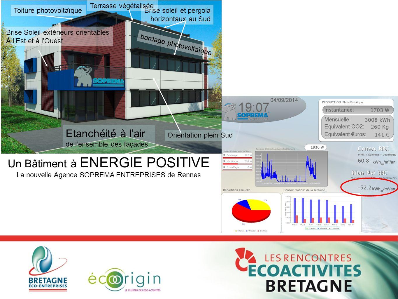 Un Bâtiment à ENERGIE POSITIVE La nouvelle Agence SOPREMA ENTREPRISES de Rennes Orientation plein Sud Toiture photovoltaïqueBrise soleil et pergola ho
