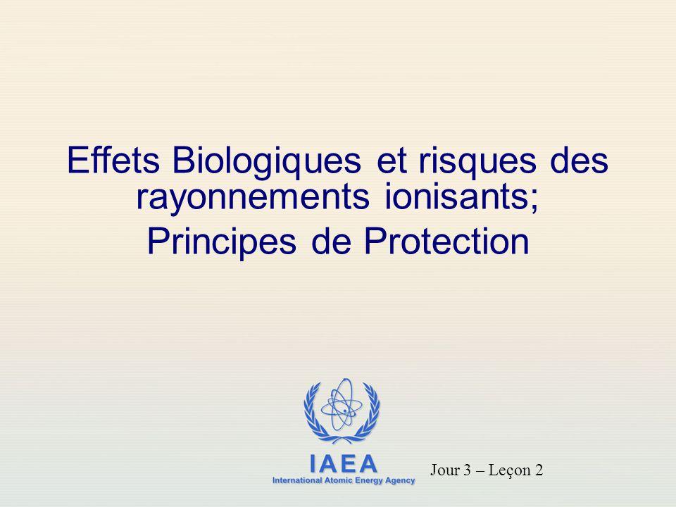 IAEA Les facteurs qui déterminent les effets biologiques de l exposition aux rayonnements comprennent: la dose totale reçue; Le débit d exposition; partie du corps exposée; les caractéristiques du rayonnement; variabilité biologique.