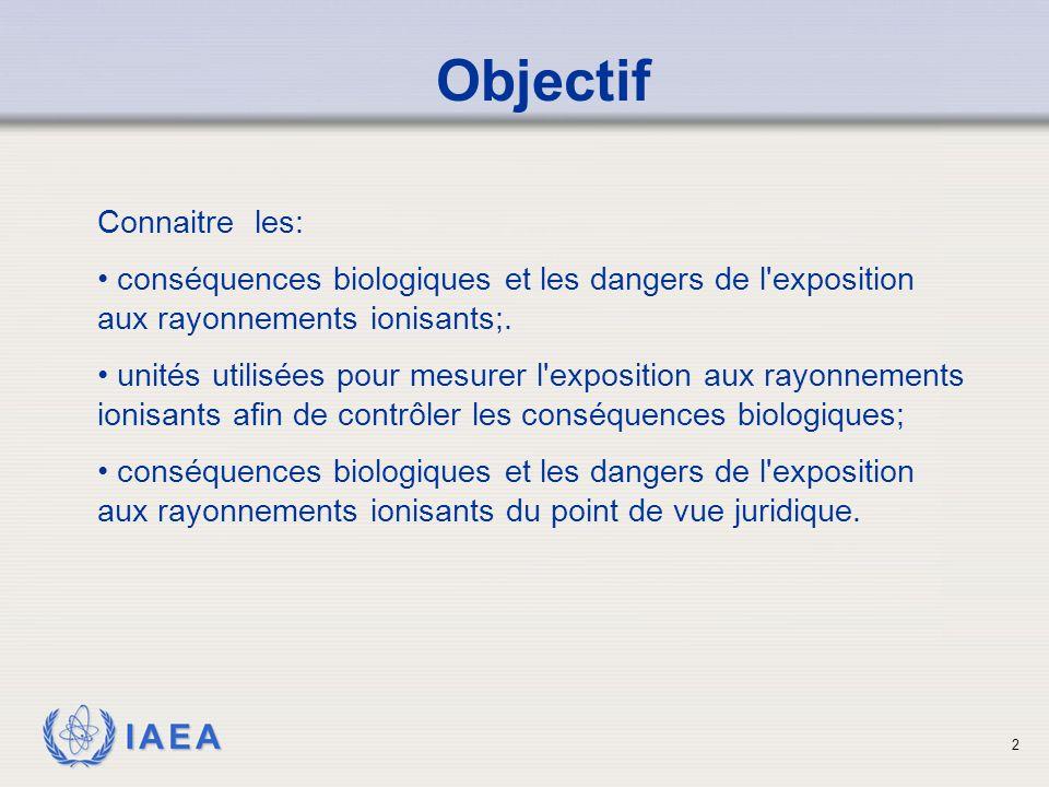 IAEA 3 Contenu La dose de rayonnement et les unités Les effets déterministes et stochastiques L exposition aux radiations vs contamination La maîtrise du danger (temps, distance, blindage)