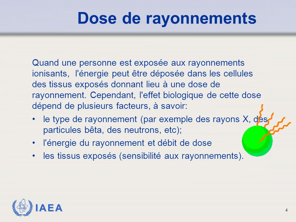IAEA 5 Dose de rayonnement Les tissus et les organes suivants sont classés de leur radiosensibilité: Les plus radiosensibles: organes hématopoïétiques Appareil digestif Organes Reproductifs Peau Os et dents Muscle Moins sensible: Système Nerveux