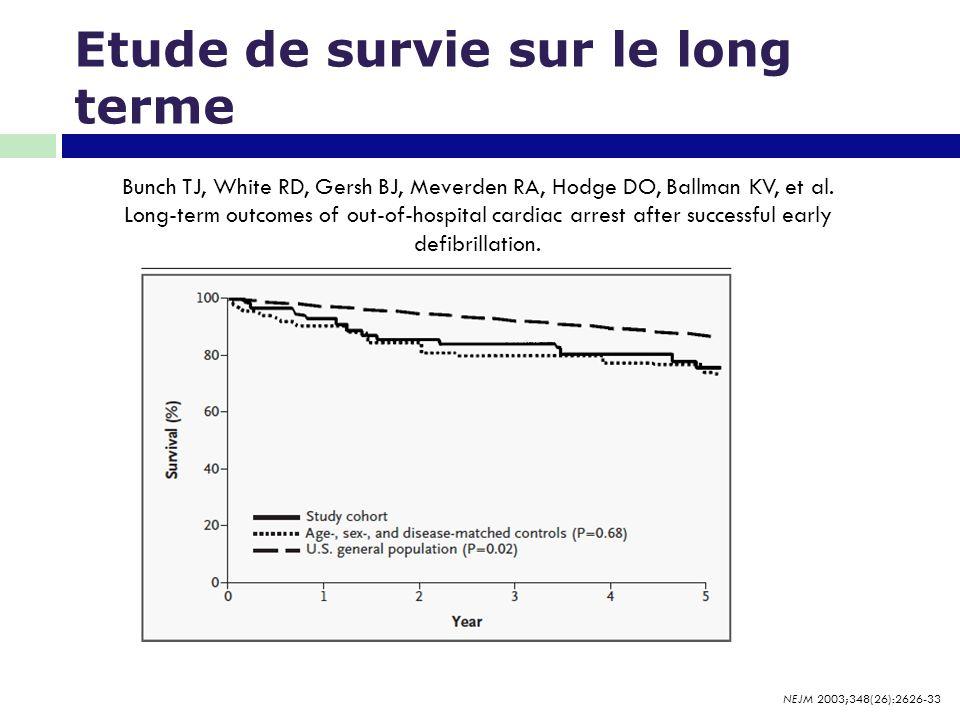 Etude de survie sur le long terme Bunch TJ, White RD, Gersh BJ, Meverden RA, Hodge DO, Ballman KV, et al. Long-term outcomes of out-of-hospital cardia
