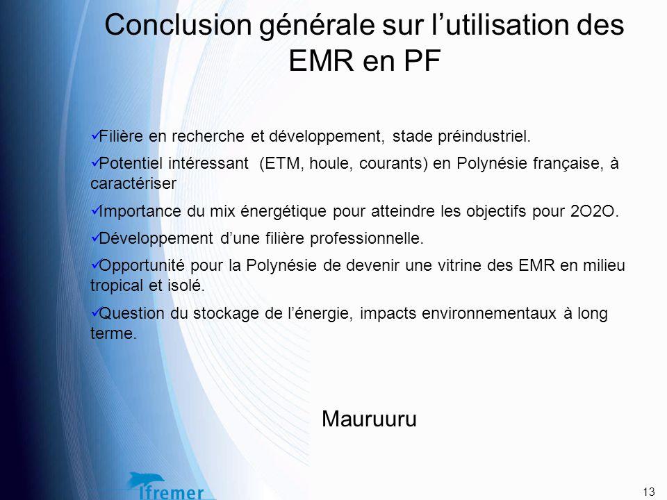 Conclusion générale sur l'utilisation des EMR en PF Filière en recherche et développement, stade préindustriel.