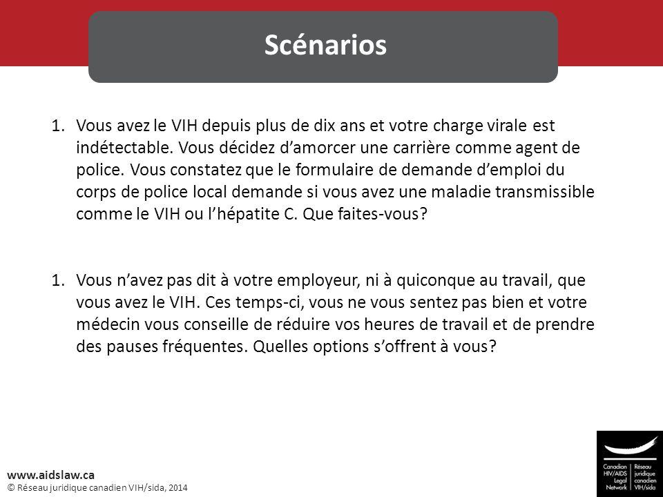 © Réseau juridique canadien VIH/sida, 2014 www.aidslaw.ca 1.Vous avez le VIH depuis plus de dix ans et votre charge virale est indétectable. Vous déci