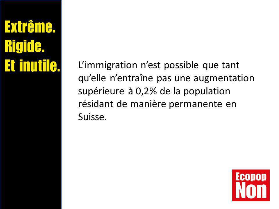 L'immigration n'est possible que tant qu'elle n'entraîne pas une augmentation supérieure à 0,2% de la population résidant de manière permanente en Suisse.