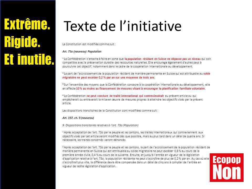 Texte de l'initiative La Constitution est modifiée comme suit : Art.