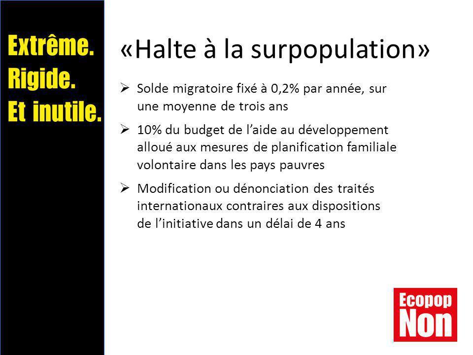 «Halte à la surpopulation»  Solde migratoire fixé à 0,2% par année, sur une moyenne de trois ans  10% du budget de l'aide au développement alloué aux mesures de planification familiale volontaire dans les pays pauvres  Modification ou dénonciation des traités internationaux contraires aux dispositions de l'initiative dans un délai de 4 ans