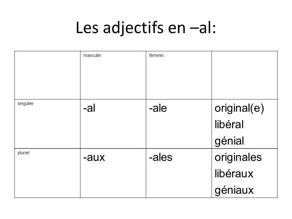 Les adjectifs en –al: masculinféminin singulier -al-aleoriginal(e) libéral génial pluriel -aux-alesoriginales libéraux géniaux