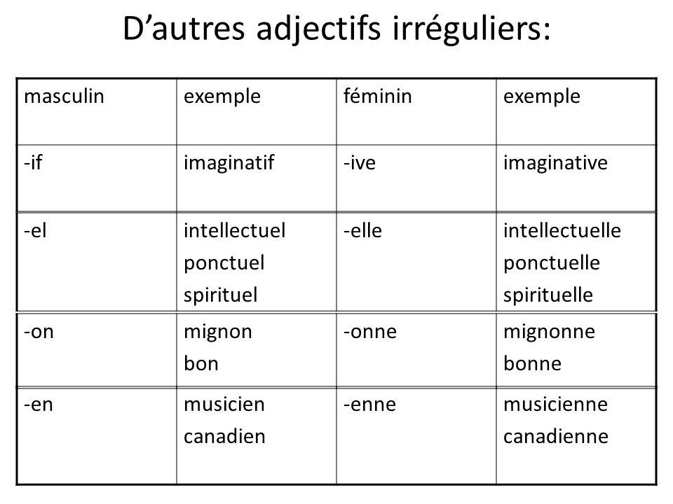 D'autres adjectifs irréguliers: masculinexemplefémininexemple -ifimaginatif-iveimaginative -enmusicien canadien -ennemusicienne canadienne -onmignon b