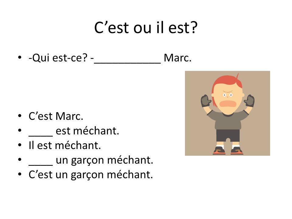 C'est ou il est? -Qui est-ce? -___________ Marc. C'est Marc. ____ est méchant. Il est méchant. ____ un garçon méchant. C'est un garçon méchant.