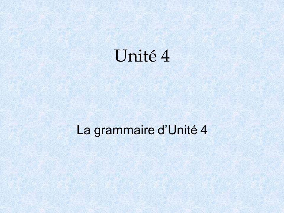 Unité 4 La grammaire d'Unité 4