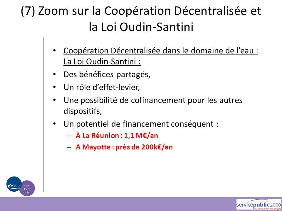 Coopération Décentralisée dans le domaine de l'eau : La Loi Oudin-Santini : Des bénéfices partagés, Un rôle d'effet-levier, Une possibilité de cofinan