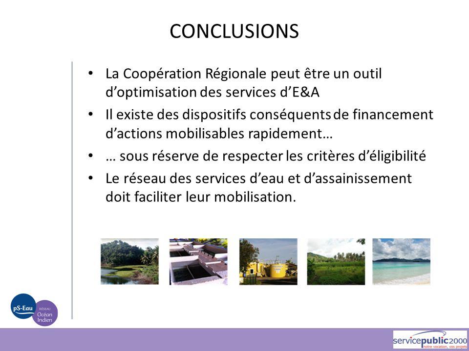 La Coopération Régionale peut être un outil d'optimisation des services d'E&A Il existe des dispositifs conséquents de financement d'actions mobilisab