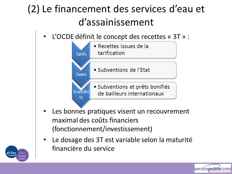 (2) Le financement des services d'eau et d'assainissement L'OCDE définit le concept des recettes « 3T » : Les bonnes pratiques visent un recouvrement