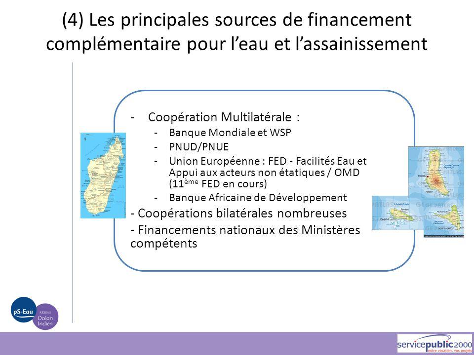 (4) Les principales sources de financement complémentaire pour l'eau et l'assainissement -Coopération Multilatérale : -Banque Mondiale et WSP -PNUD/PN