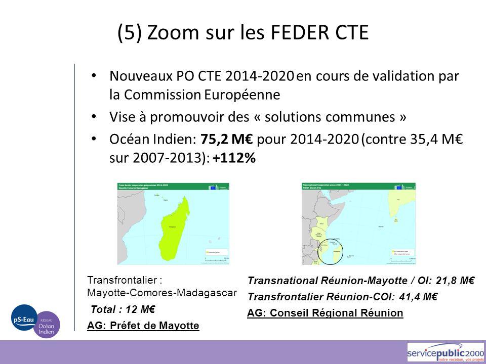 (5) Zoom sur les FEDER CTE Nouveaux PO CTE 2014-2020 en cours de validation par la Commission Européenne Vise à promouvoir des « solutions communes »