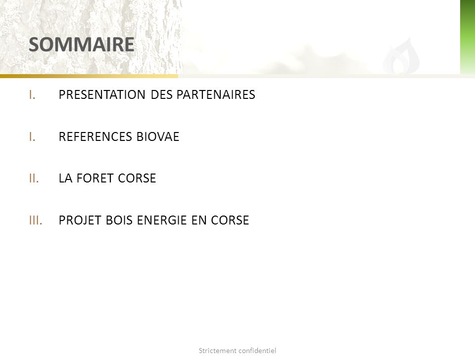 SOMMAIRE I.PRESENTATION DES PARTENAIRES I.REFERENCES BIOVAE II.LA FORET CORSE III.PROJET BOIS ENERGIE EN CORSE Strictement confidentiel