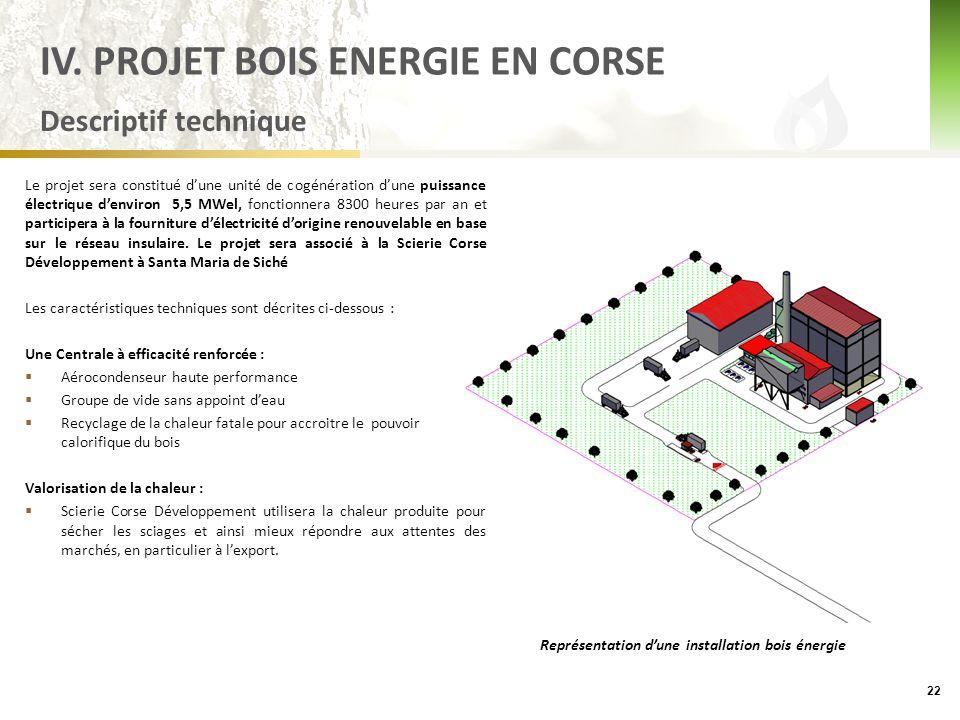 Descriptif technique Le projet sera constitué d'une unité de cogénération d'une puissance électrique d'environ 5,5 MWel, fonctionnera 8300 heures par an et participera à la fourniture d'électricité d'origine renouvelable en base sur le réseau insulaire.