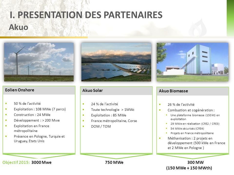 Biovaé  En 2011 l'activité biomasse d'AKUO ENERGY a été structurée au sein d'une filiale spécialisée dédiée à la biomasse AKUO BIOMASSE et qui a été organisée autour de ses filiales techniques OPEOS et BIOVAE.
