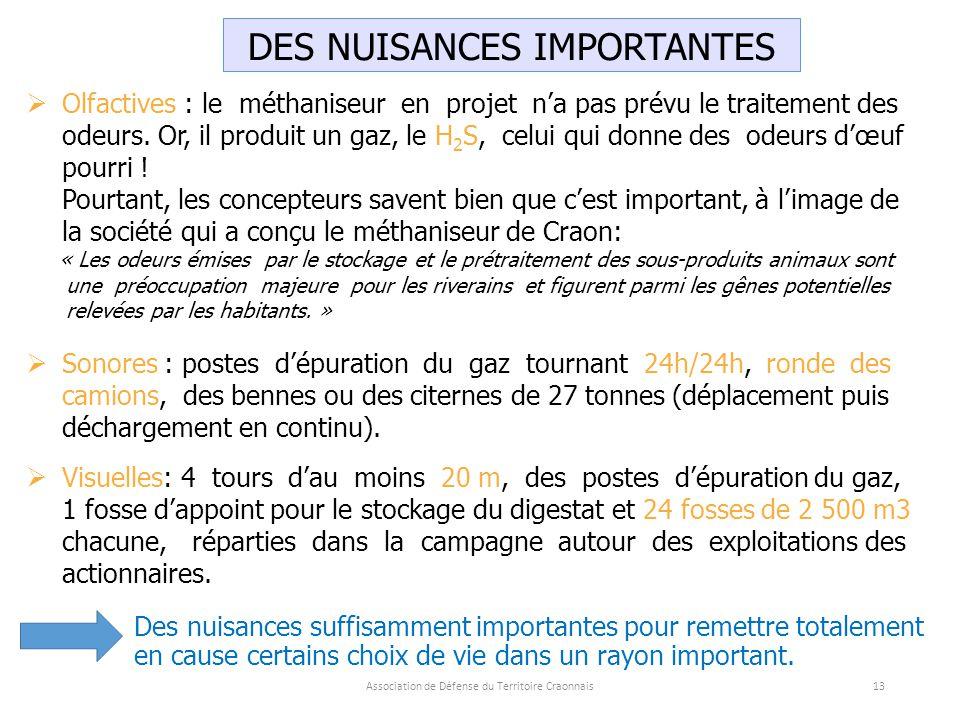 DES NUISANCES IMPORTANTES  Olfactives : le méthaniseur en projet n'a pas prévu le traitement des odeurs.