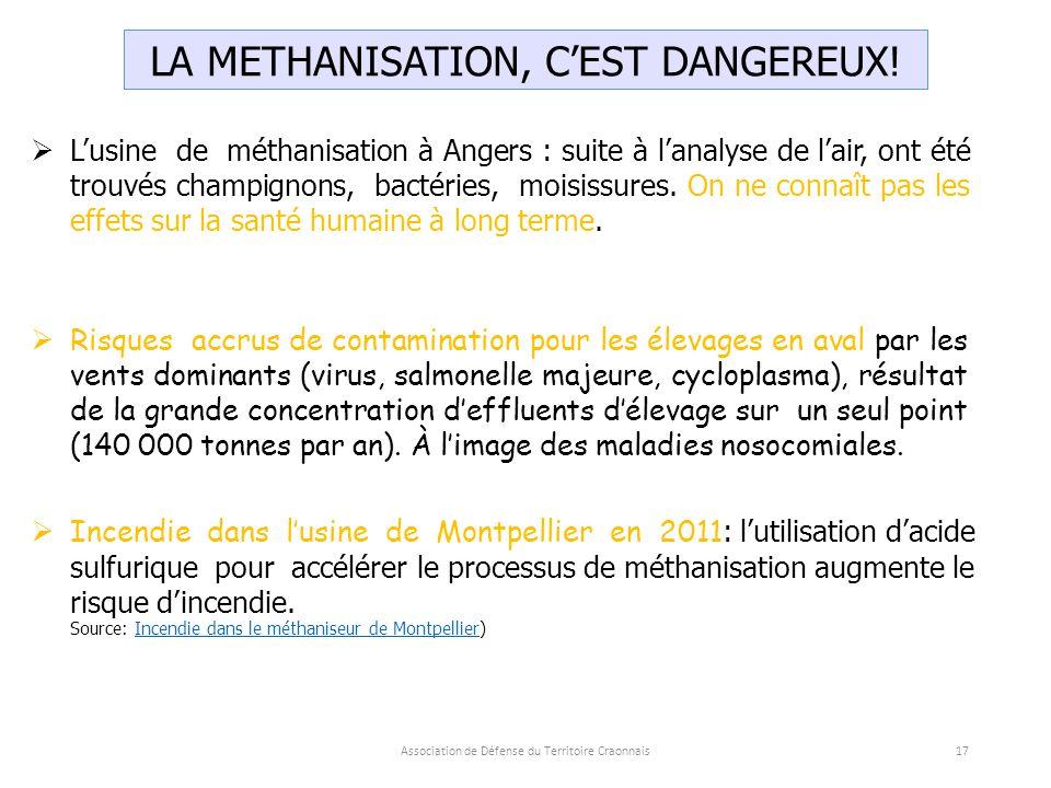 Association de Défense du Territoire Craonnais17 LA METHANISATION, C'EST DANGEREUX.