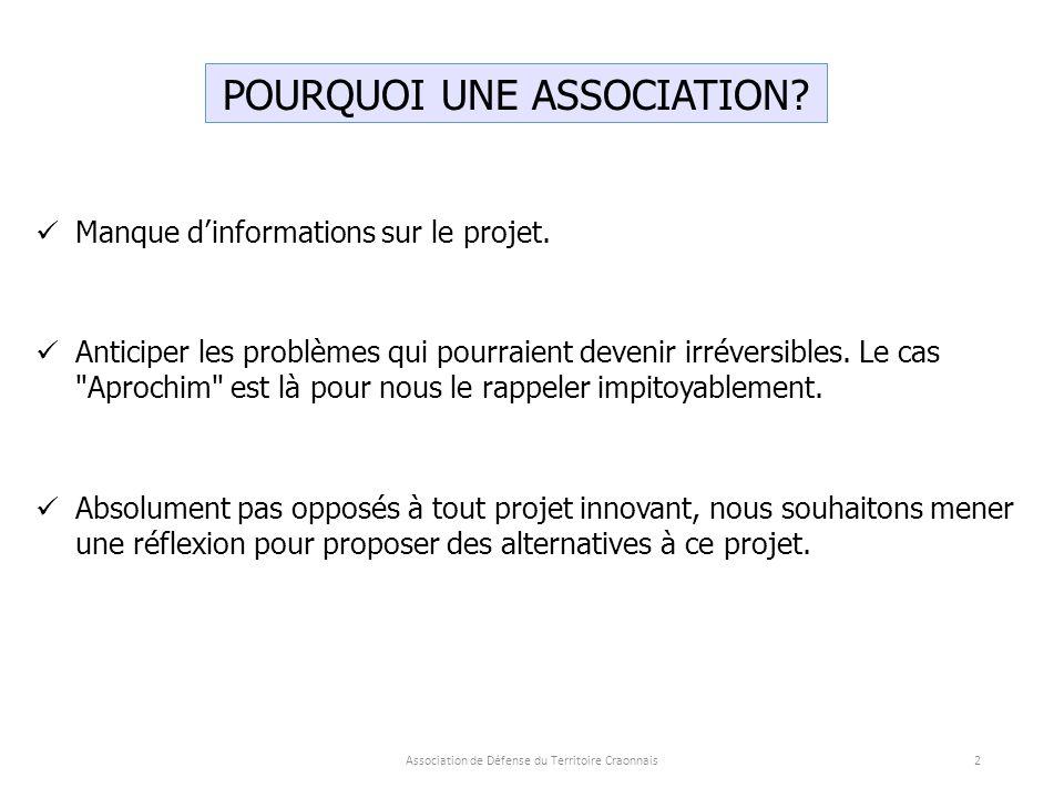 POURQUOI UNE ASSOCIATION.Manque d'informations sur le projet.