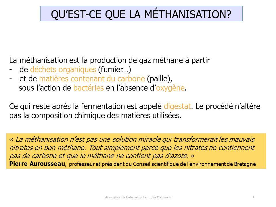 Association de Défense du Territoire Craonnais4 QU'EST-CE QUE LA MÉTHANISATION.