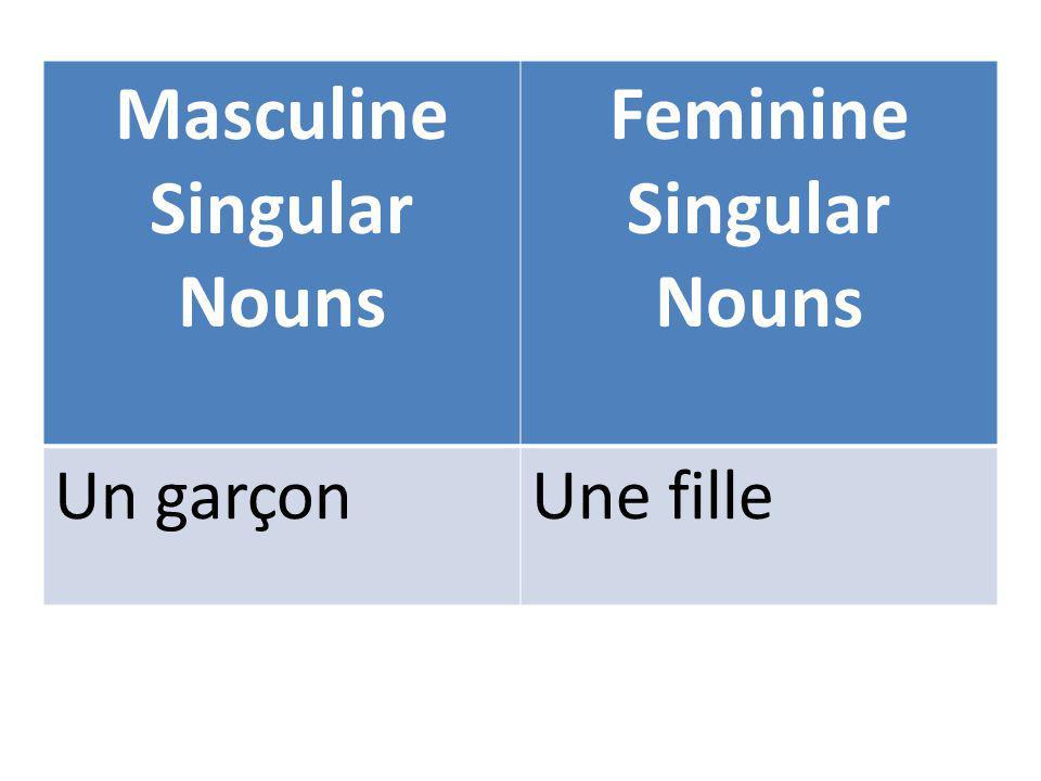 Masculine Singular Nouns Feminine Singular Nouns Un garçonUne fille
