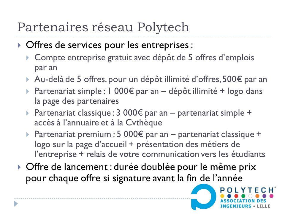 Partenaires réseau Polytech  Offres de services pour les entreprises :  Compte entreprise gratuit avec dépôt de 5 offres d'emplois par an  Au-delà de 5 offres, pour un dépôt illimité d'offres, 500€ par an  Partenariat simple : 1 000€ par an – dépôt illimité + logo dans la page des partenaires  Partenariat classique : 3 000€ par an – partenariat simple + accès à l'annuaire et à la Cvthèque  Partenariat premium : 5 000€ par an – partenariat classique + logo sur la page d'accueil + présentation des métiers de l'entreprise + relais de votre communication vers les étudiants  Offre de lancement : durée doublée pour le même prix pour chaque offre si signature avant la fin de l'année