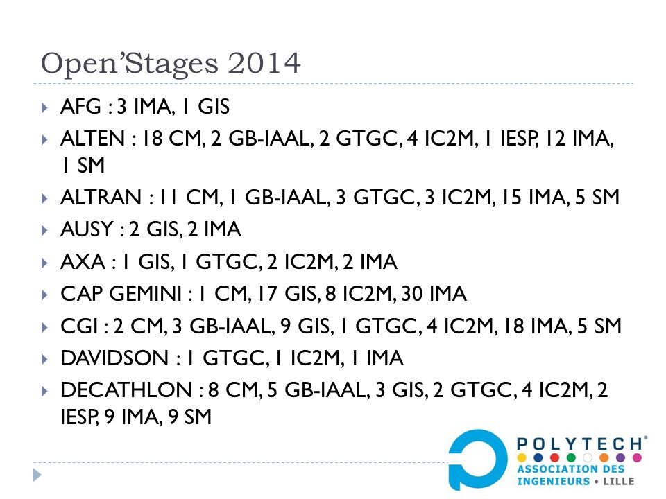 Open'Stages 2014  AFG : 3 IMA, 1 GIS  ALTEN : 18 CM, 2 GB-IAAL, 2 GTGC, 4 IC2M, 1 IESP, 12 IMA, 1 SM  ALTRAN : 11 CM, 1 GB-IAAL, 3 GTGC, 3 IC2M, 15