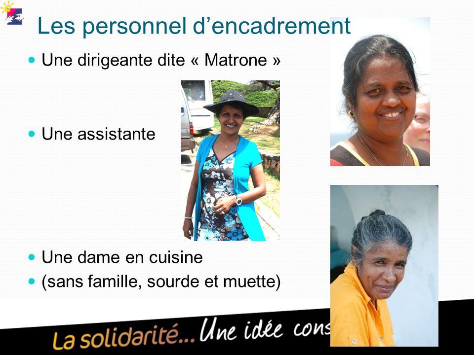 Les personnel d'encadrement Une dirigeante dite « Matrone » Une assistante Une dame en cuisine (sans famille, sourde et muette)