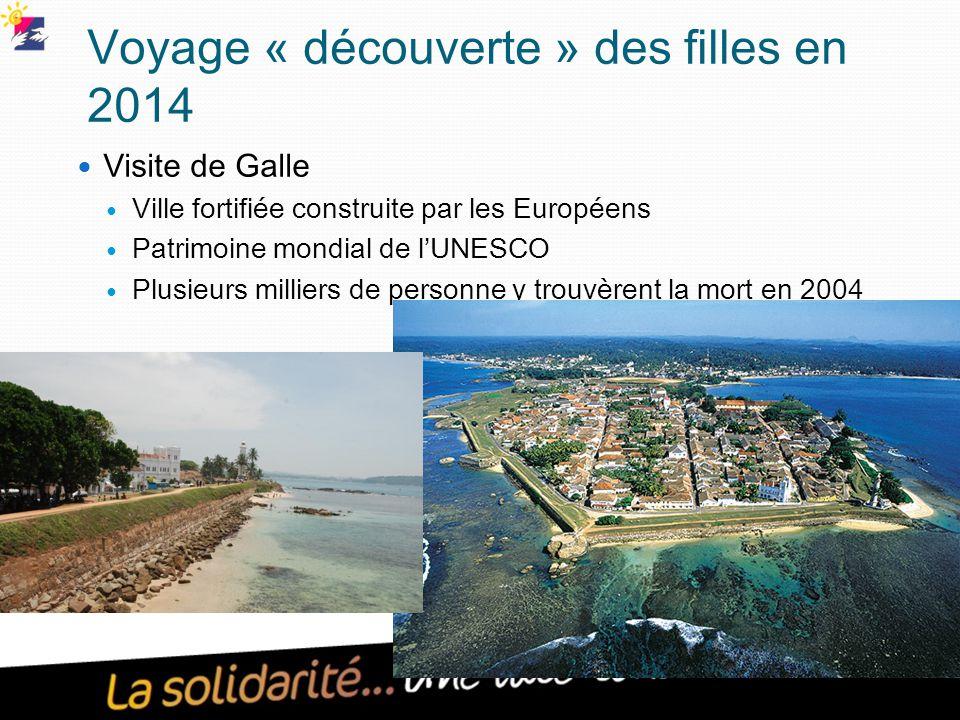 Voyage « découverte » des filles en 2014 Visite de Galle Ville fortifiée construite par les Européens Patrimoine mondial de l'UNESCO Plusieurs milliers de personne y trouvèrent la mort en 2004