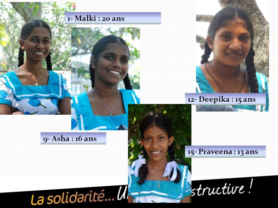 1- Malki : 20 ans 9- Asha : 16 ans 12- Deepika : 15 ans 15- Praveena : 13 ans