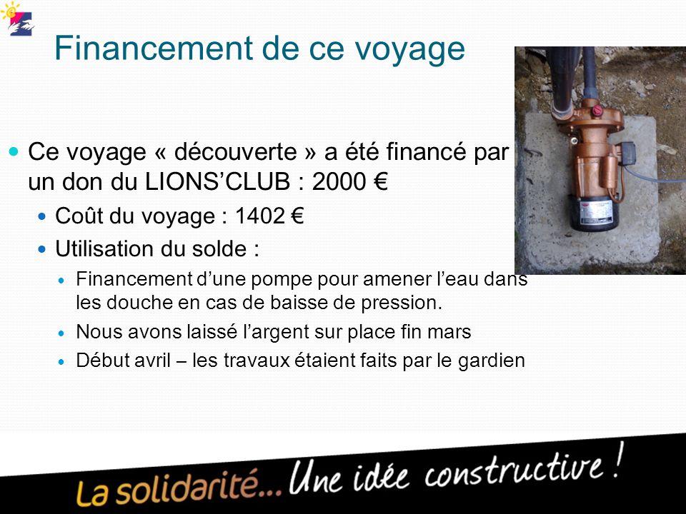 Financement de ce voyage Ce voyage « découverte » a été financé par un don du LIONS'CLUB : 2000 € Coût du voyage : 1402 € Utilisation du solde : Financement d'une pompe pour amener l'eau dans les douche en cas de baisse de pression.