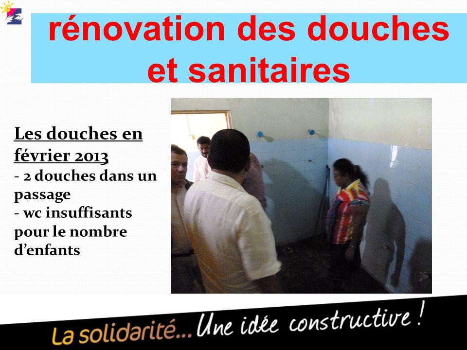 rénovation des douches et sanitaires Les douches en février 2013 - 2 douches dans un passage - wc insuffisants pour le nombre d'enfants