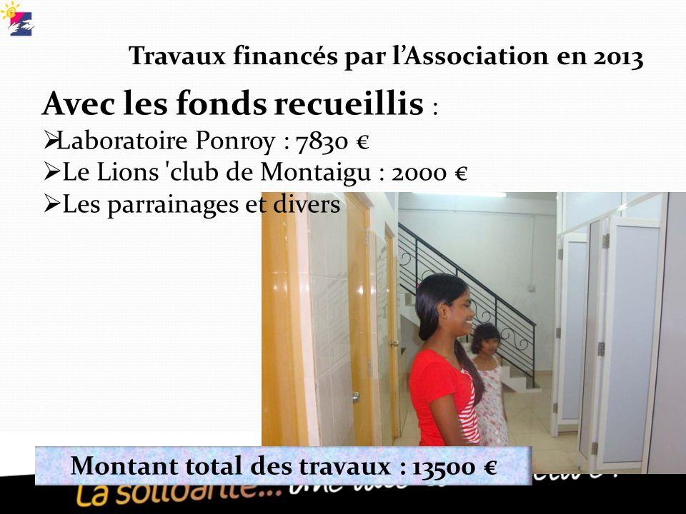 Travaux financés par l'Association en 2013 Avec les fonds recueillis :  Laboratoire Ponroy : 7830 €  Le Lions club de Montaigu : 2000 €  Les parrainages et divers Montant total des travaux : 13500 €