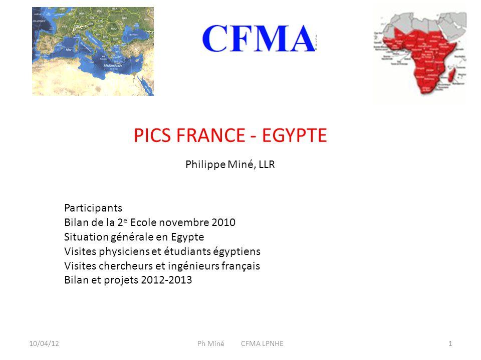 10/04/121Ph Miné CFMA LPNHE PICS FRANCE - EGYPTE Participants Bilan de la 2 e Ecole novembre 2010 Situation générale en Egypte Visites physiciens et étudiants égyptiens Visites chercheurs et ingénieurs français Bilan et projets 2012-2013 Philippe Miné, LLR
