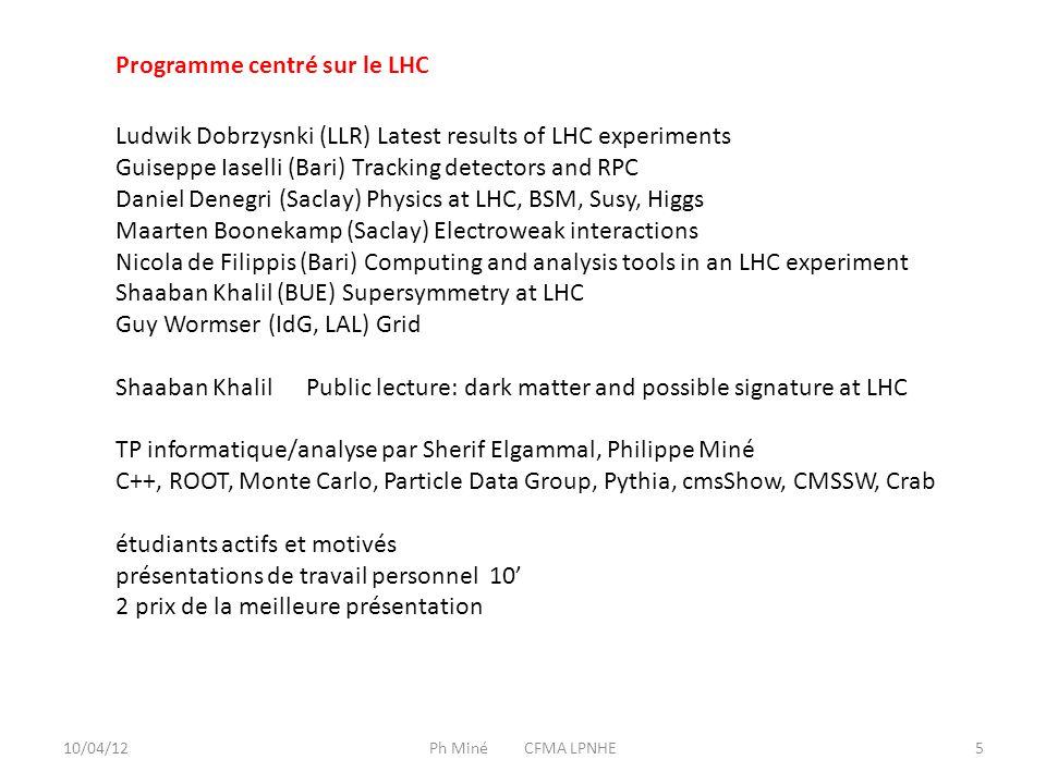 10/04/12Ph Miné CFMA LPNHE6 Quelques problèmes : Pas assez de temps : 7 jours prévus, en fait 5 B.Taklifi et I.Semeniouk n'ont pas pu voir les 30 PC en septembre Seulement une moitié des PC dans la salle, trop petite pour 25 personnes Nous avons fait au mieux pour une initiation à l'analyse grâce à Amr Radi et aux étudiants L'hospitalité : Ayman Mahrous, Helwan university Les sponsors : CNRS/IN2P3, INFN, BUE/CTP, ASRT, Ain Sham, MAE France Organisation, secrétariat : Mai El Sawy, BUE