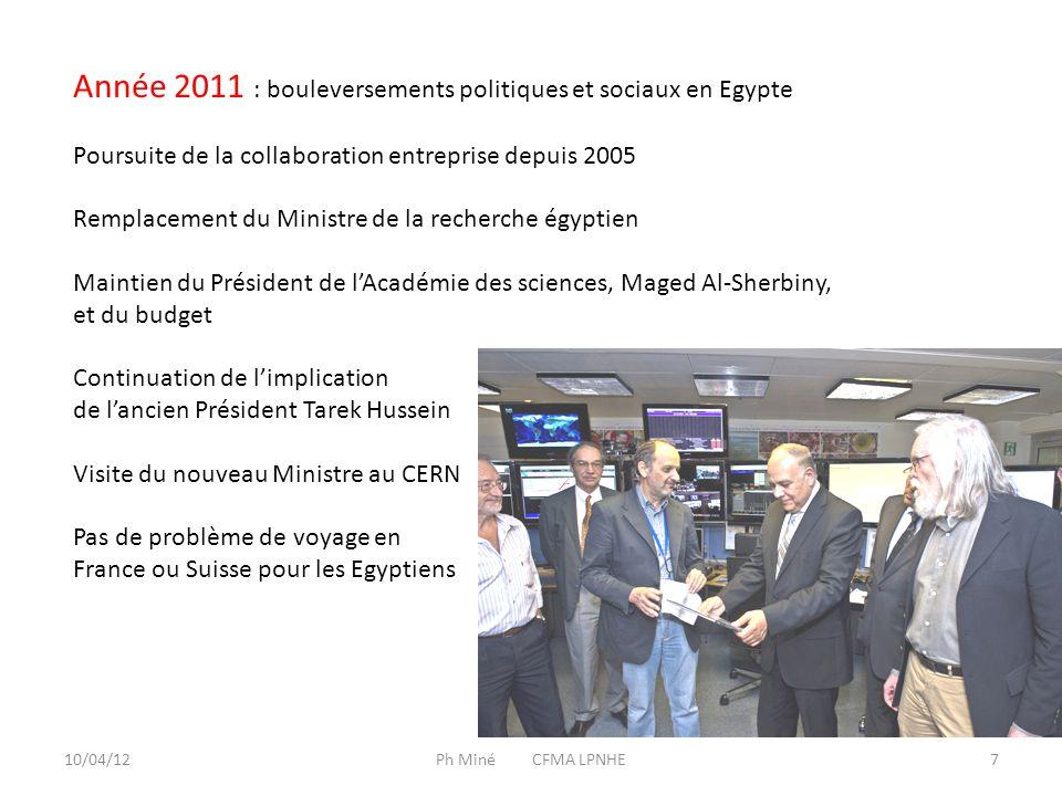 10/04/12Ph Miné CFMA LPNHE8 Seul contretemps : report de la 3 e Ecole de physique de décembre 2011 en avril-mai 2012 Sherif Elgammal, postdoctorant IN2P3 a terminé ses 2 ans de CDD le 30 septembre 2011 chargé de cours à la BUE depuis février 2012, chercheur au Zewail center Le Zewail center est un centre créé dans la banlieue du Caire par Ahmed Zewail, prix Nobel de chimie 1999 américano-égyptien Une partie des chercheurs de BUE (Shaaban Khalil, Sherif Elgammal) ont quitté BUE pour Zewail center Le nouveau responsable ENHEP est Amr Radi Zewail center devrait participer au ENHEP s'il trouve un accord avec les autres partenaires : BUE, Cairo, Helwan, Ain Sham, Académie des sciences