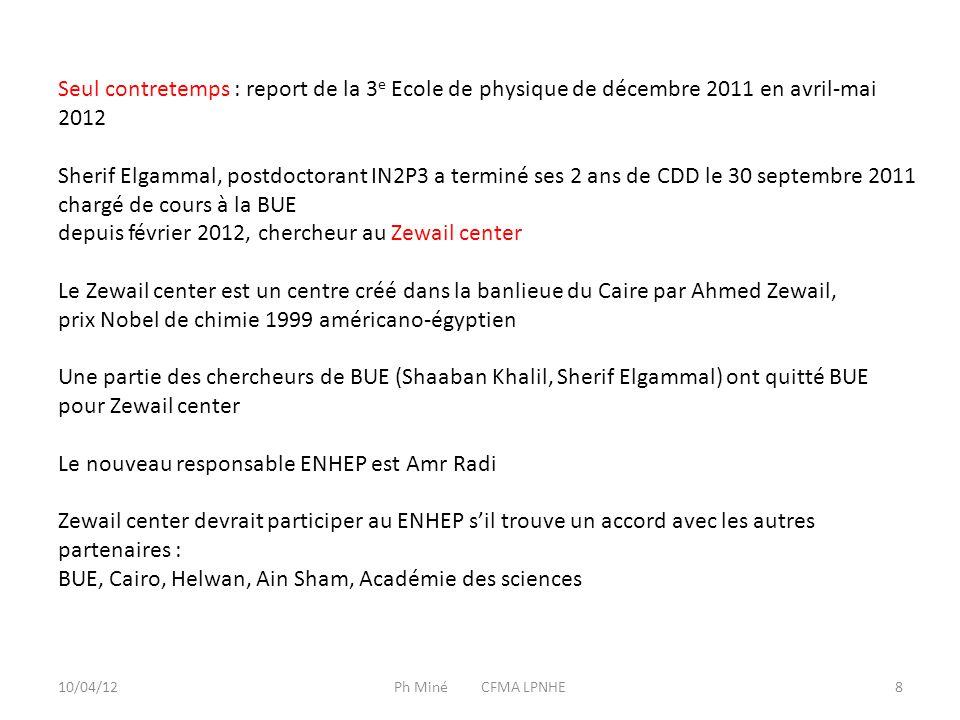 10/04/12Ph Miné CFMA LPNHE9 Activités financées par le PICS en 2011 : - séjour de deux étudiantes pendant deux mois, pendant l'Ecole d'été du CERN Safinaz Salem (1 er prix de présentation de travaux à l'Ecole Helwan) Asmaa Fawzi (2 e … ex æquo) - séjour d'une semaine de Shaaban Khalil au LLR - 4 billets d'avion pour les professeurs de la 3 e Ecole en Egypte, achetés en 2011, utilisés en 2012 D.Denegri, Ghita Rahal, Nicola de Filippis, PM Total frais de séjours Égyptiens : 4041 € Total frais de voyage Français : 1678 € Autres activités non financées par le PICS : - billets Le Caire-Paris de Safinaz Salem et Asmaa Fawsi (Ambassade de France au Caire) et complément de frais de séjour (Partenariat Hubert Curien) - complément de frais de séjour de Shaaban Khalil (PHC) - voyage à Cairo University de L.Dobrzynski janvier 2011 (Ambassade de France au Caire) - voyage à BUE de Sherif Elgammal après son contrat IN2P3