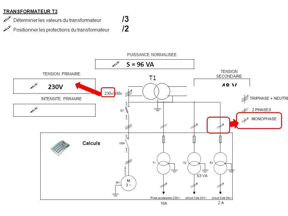 S = UxI S = 48 x 2 S = 96 VA TRANSFORMATEUR T3  Déterminer les valeurs du transformateur /3  Positionner les protections du transformateur /2 PUISSA