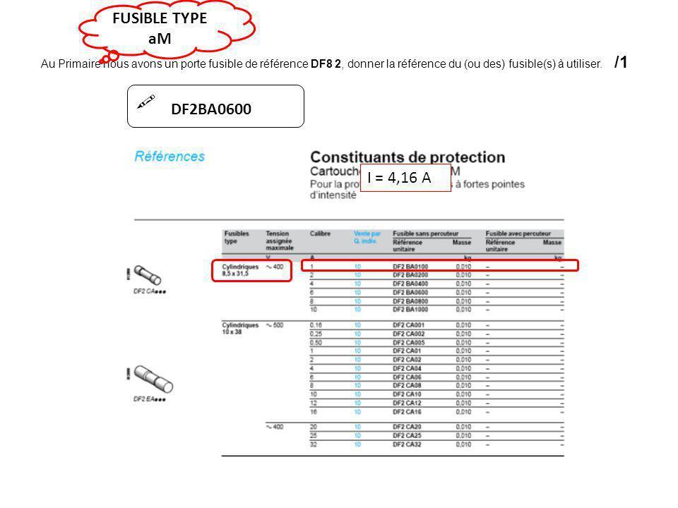  I = 4,16 A DF2BA0600 FUSIBLE TYPE aM