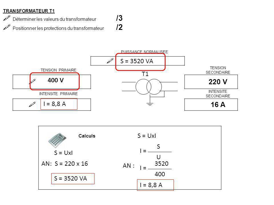 TRANSFORMATEUR T1  Déterminer les valeurs du transformateur /3  Positionner les protections du transformateur /2 PUISSANCE NORMALISEE  TENSION PRIMAIRE TENSION SECONDAIRE  220 V INTENSITE PRIMAIRE INTENSITE SECONDAIRE  16 A T1 Calculs S = UxI AN: S = 220 x 16 S = 3520 VA 400 V S = UxI I = S U 3520 400 AN : I = 8,8 A 1 fusible par phase