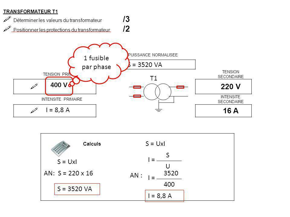 TRANSFORMATEUR T2  Déterminer les valeurs du transformateur /3  Positionner les protections du transformateur /2 PUISSANCE NORMALISEE  TENSION PRIMAIRE TENSION SECONDAIRE  24 V INTENSITE PRIMAIRE INTENSITE SECONDAIRE  T1 Calculs S = 63 VA S = UxI I = S U 63 24 AN : I = 2,6 A
