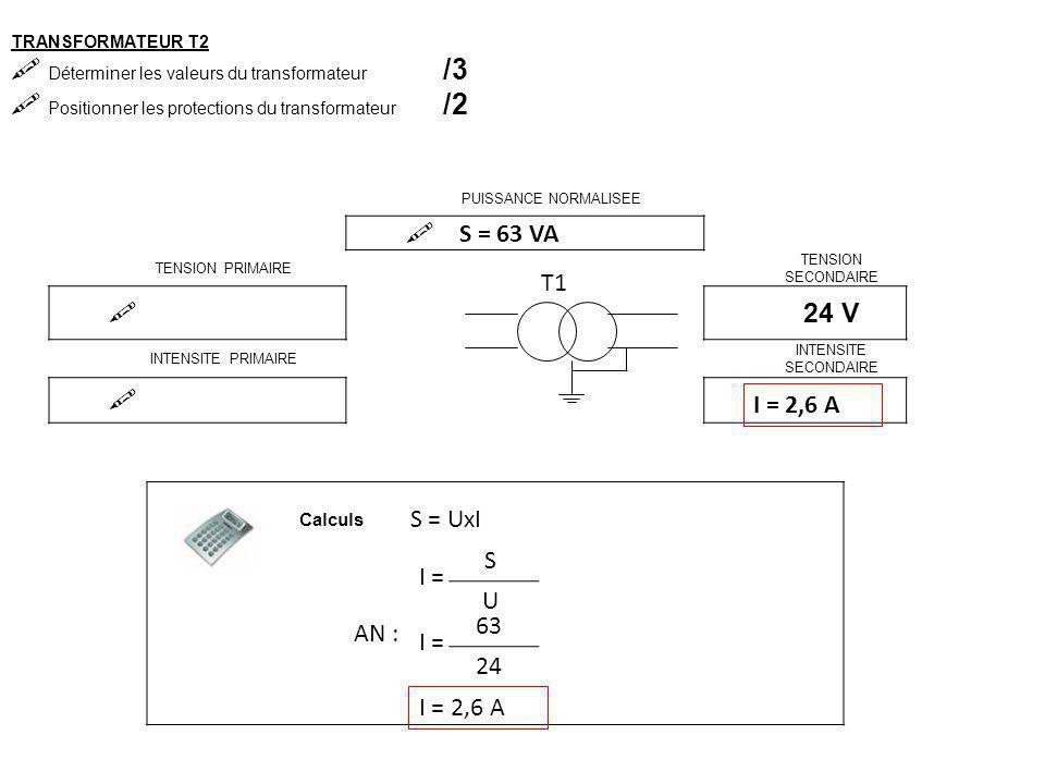 TRANSFORMATEUR T1  Déterminer les valeurs du transformateur /3  Positionner les protections du transformateur /2 PUISSANCE NORMALISEE  TENSION PRIMAIRE TENSION SECONDAIRE  24 V INTENSITE PRIMAIRE INTENSITE SECONDAIRE  2,6 A T1 Calculs S = 63 VA S = UxI I = S U 63 24 AN : I = 2,6 A 230V
