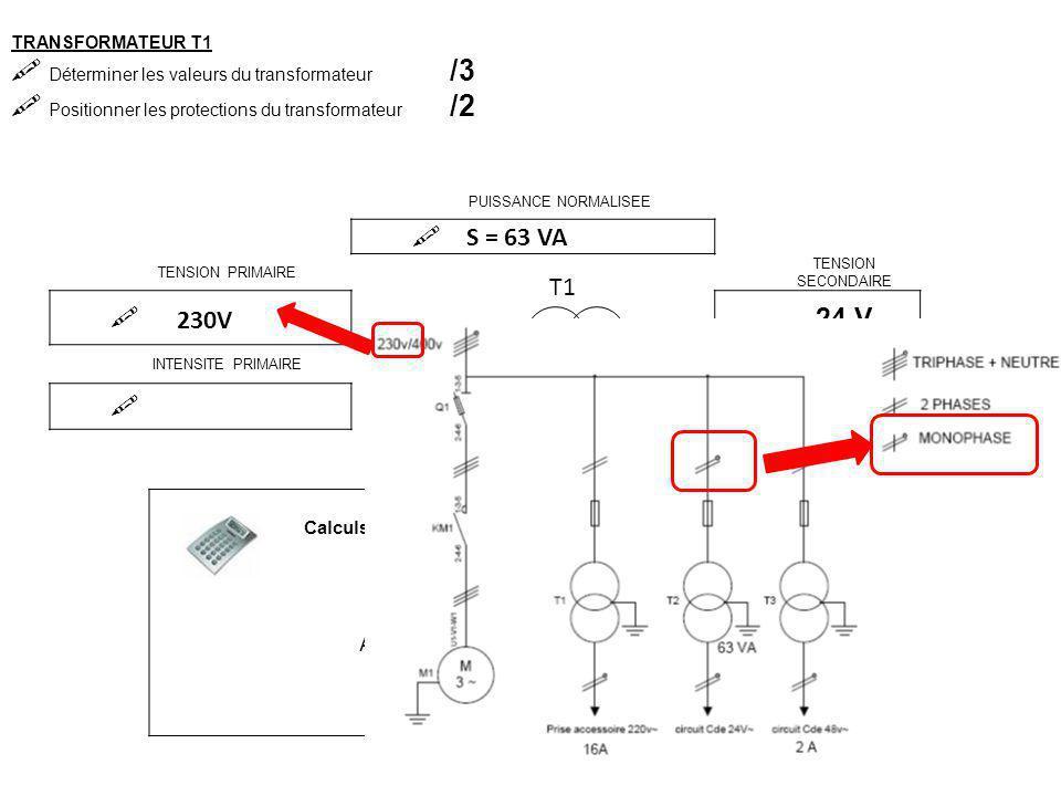 TRANSFORMATEUR T2  Déterminer les valeurs du transformateur /3  Positionner les protections du transformateur /2 PUISSANCE NORMALISEE  TENSION PRIMAIRE TENSION SECONDAIRE  24 V INTENSITE PRIMAIRE INTENSITE SECONDAIRE  2,6 A T1 Calculs S = 63 VA S = UxI I = S U 63 24 AN : I = 2,6 A 230V S = UxI I = S U 63 230 AN : I = 0,27 A