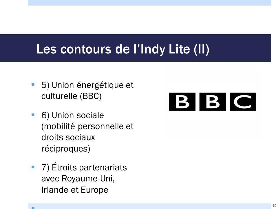 Les contours de l'Indy Lite (II)  5) Union énergétique et culturelle (BBC)  6) Union sociale (mobilité personnelle et droits sociaux réciproques)  7) Étroits partenariats avec Royaume-Uni, Irlande et Europe  10