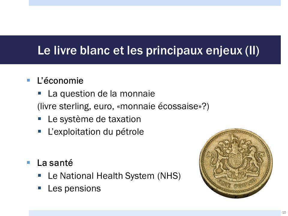 Le livre blanc et les principaux enjeux (II)  L'économie  La question de la monnaie (livre sterling, euro, «monnaie écossaise»?)  Le système de taxation  L'exploitation du pétrole  La santé  Le National Health System (NHS)  Les pensions 15